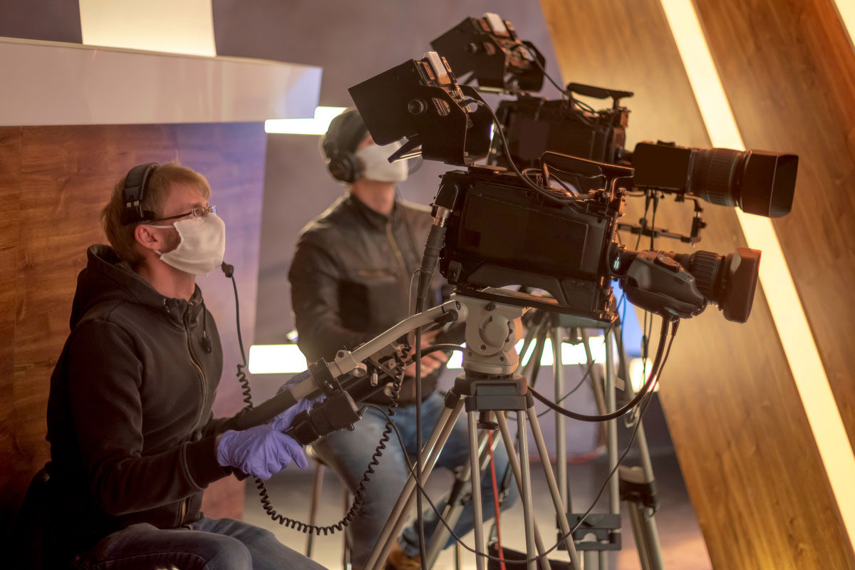 Liverpool Film Crew in PPE on an international production